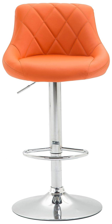 Arancione 2 Pezzi con Poggiapiedi I Sgabelli Bar Imbottiti CLP 2X Sgabelli Design Lazio in Similpelle Sedie Cucina Girevoli e Regolabili 83-104 cm