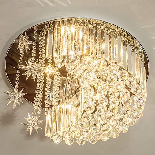 Modern K9 Crystal Moon Star Chandelier Lighting with Remote,Flush Mount LED Ceiling Light Fixture Pendant Lamp for Dining Room Bedroom Living Room Width 23.6inch