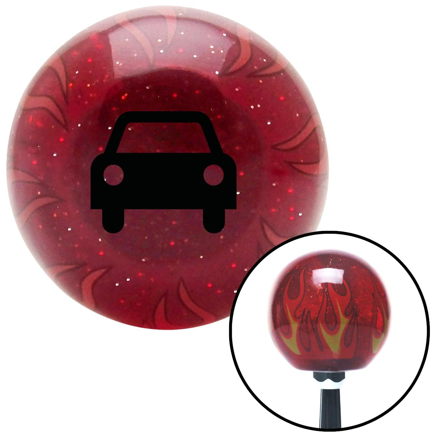 American Shifter 240195 Red Flame Metal Flake Shift Knob with M16 x 1.5 Insert Black Car