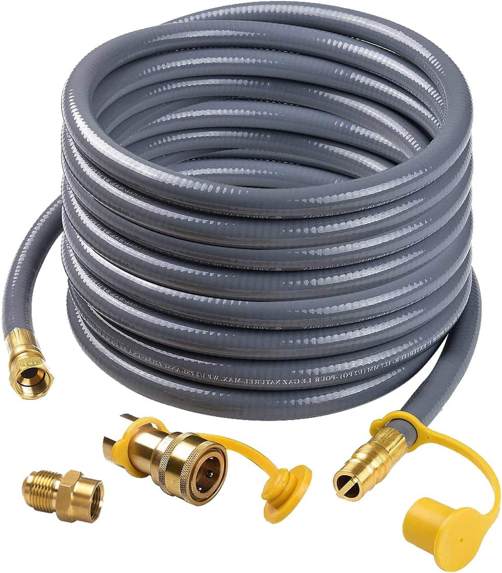 "Camplux 24Ft 1/2"" Natural Gas Quick Connect Hose, Low Pressure Appliance with Quick Connect/Disconnect 3/8'' Female Flare by 1/2'' Male Flare Adapter"