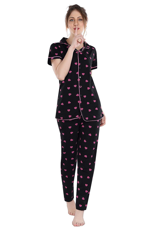 Fashigo Women's Cotton Printed Night Suit Set
