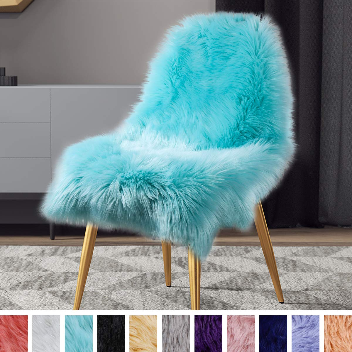 LOCHAS Soft Faux Sheepskin Chair Cover Fluffy Rugs for Bedroom Faux Fur Area Rugs Photography Carpet Floor, 2x3 Feet Light Blue