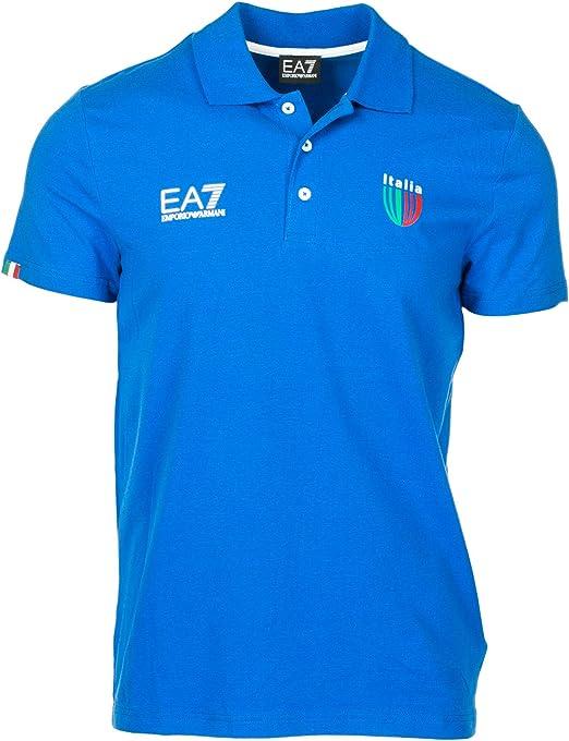 Emporio Armani EA7 Polo Italia Team Hombre True Blue M: Amazon.es ...