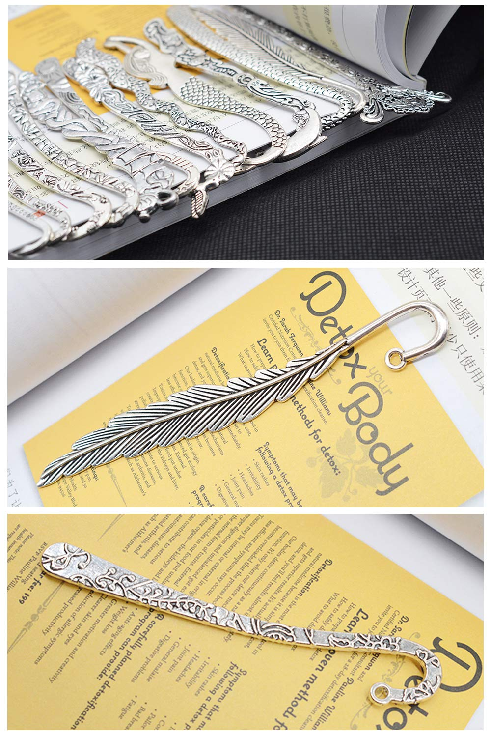 QPOWER 40 Pack Bookmarks Metal Carved Hook Antique Tibetan Silver Mixed Random Delivery(About 82MM)