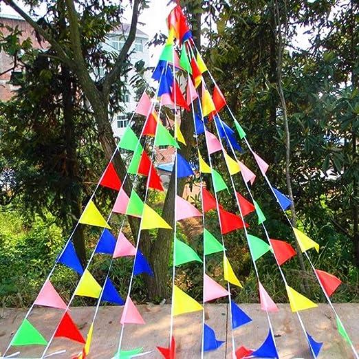 Yungo Bunting Partido Colores Triángulo Banner Bandera Cuerda Colgando Decoración para Boda Cumpleaños Celebracion Fiesta Bienvenida Navidad Víspera ...