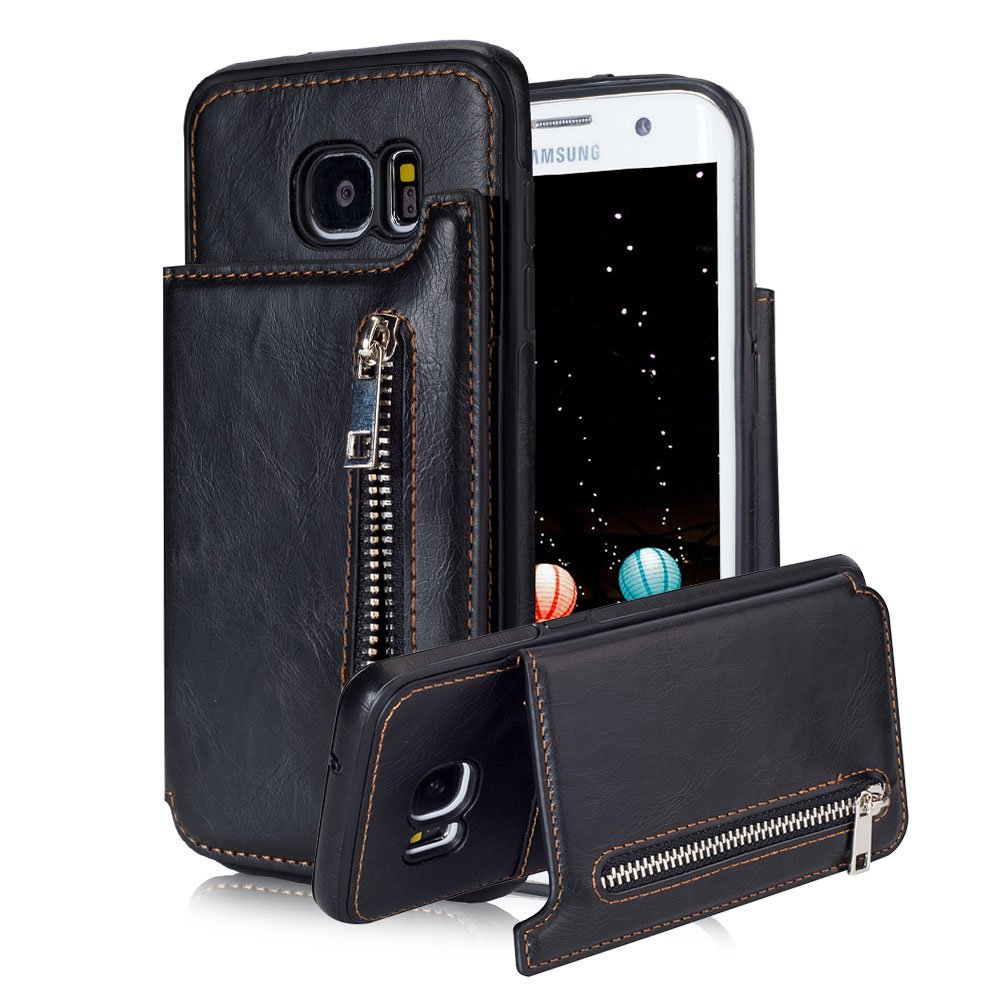 For Samsung Galaxy S7 Pocket Case, Aearl TPU Bumper Shell Back Magnetic Button Closure PU Leather Cover Zipper Wallet Purse Card Holder Photo Frame Slot Kickstand Case for Samsung Galaxy S7 - Black