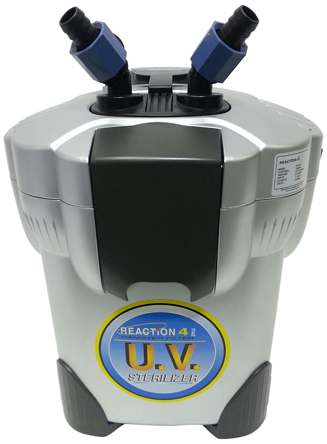Filters Up to 100-Gallon JBJ 4-Stage Reaction Canister Filter with UV Sterilizer for Aquarium, Filters Up to 100-Gallon