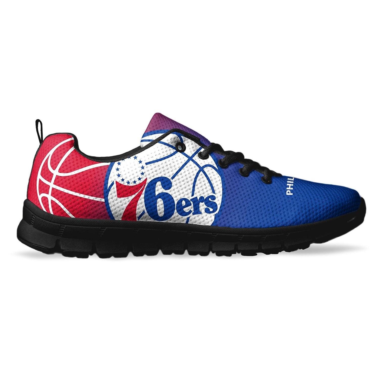 AllAmbitions Men's Philadelphia Basketball Custom Fan Made Running/Athletic Sneakers B078WHFCT7 12 US Men's Black