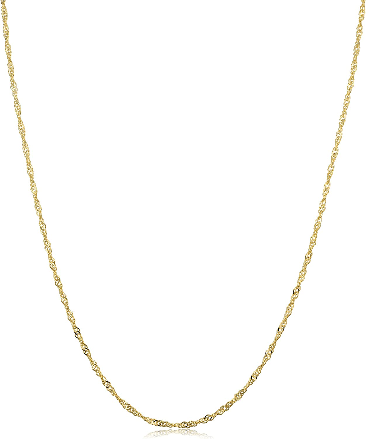 Kooljewelry 14k Yellow Gold Singapore Chain Necklace (0.7 mm, 1 mm, 1.4 mm, 1.7 mm)
