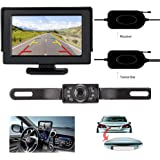 ZSMJ Wireless 9V-24V Rear View Backup Camera and Mirror Monitor Kit For Car/Vehicle/Truck / Van / Caravan / Trailers / Camper with 7 LED Night Vision
