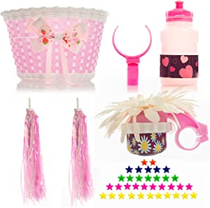 Bikes on Hikes Girl's Bicycle Decorations Set - Fun Bicycle Decor w/Beads, Rear View Mirror, Mounted Water Bottle, Handlebar Streamers & Basket - Complete Bike Decoration Kit for Kids