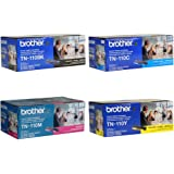 Brother TN110BK, TN110C, TN110M, TN110Y Black, Cyan, Magenta and Yellow Toner Cartridge Set