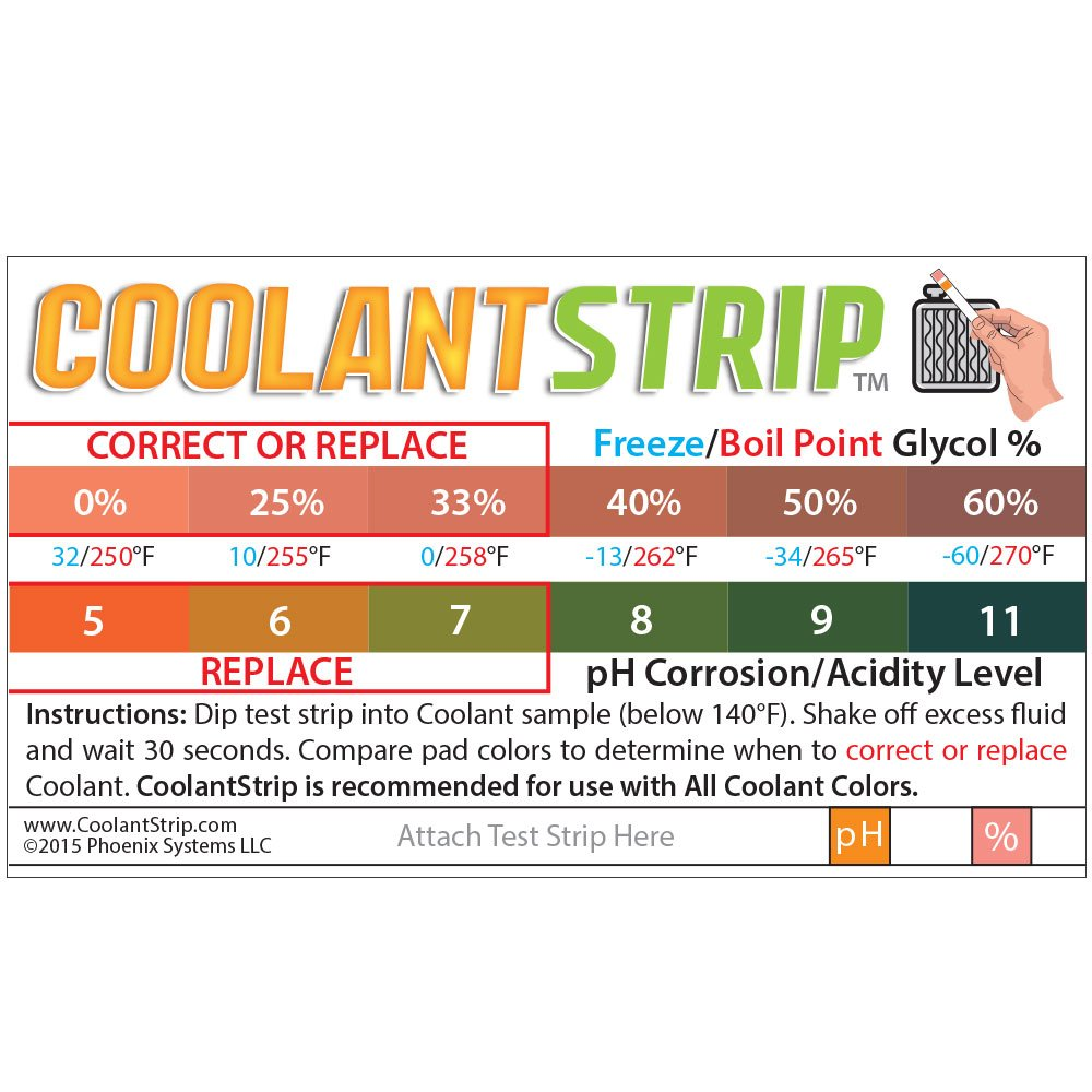 Phoenix Systems 8003-B Double-Ended Test Strip for Coolant + Brake Fluid (100 Test Strips and 100 Rating Scale Cards) by Phoenix Systems (Image #2)