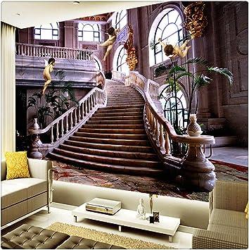 Fotomural Grande 3D Wallpapers Custom 3D Photo Wallpaper Murales Estilo Europeo Iglesia Ángel Escaleras Mural De Pared 3D Hotel Hall Sala De Estar Paisaje Papeles De Pared, 430 Cm X 300 Cm: