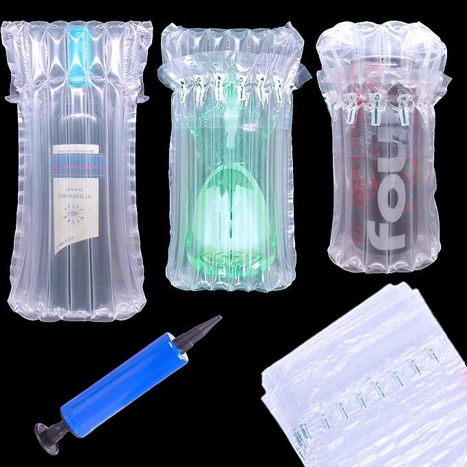 YuChiSX 25 Pieza Protectores de Botellas de Vino, Bolsas de Burbujas inflables de Bomba de Aire Reutilizables, Columna de Aire Inflable para Embalaje, para un Transporte Seguro del Embalaje