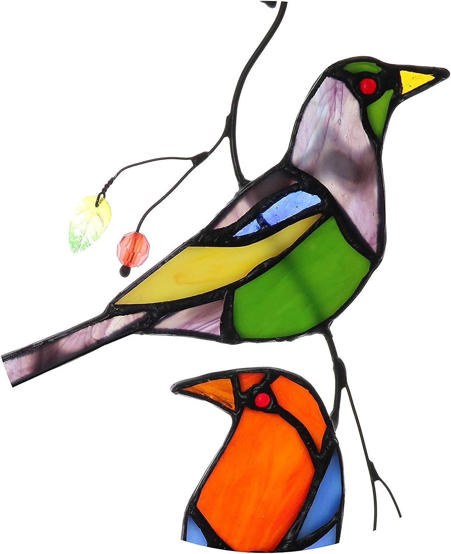 Yaloyi Stained Glass Love Birds Window Hangings Handcrafted Suncatcher Ornament 11.5 x 6.3