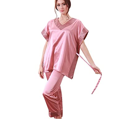 Varubaba Soft Women Pajamas Summer NEW Brand Ladies Satin Pijama Short Sleeve Silk Pajamas Sets Pyjamas