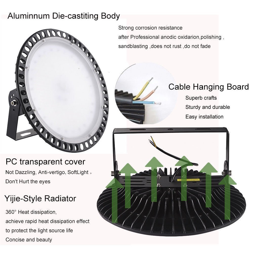 300W UFO High Bay LED Lighting,Getseason Super Bright Commercial Lights,Commercial Grade Area Ultra Thin and Efficient for Warehouse Workshop Hanging Lighting Fixtures (1) by Getseason (Image #3)