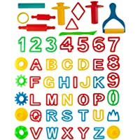 KIDDY DOUGH 42-Piece Play Dough Tool Kit & Clay Party Pack w/Letters and Numbers - Mega Tool Playset Includes 45 Colorful Cutters, Molds, Rollers & Play Accessories + 2 Bonus Surprise Dough Extruders