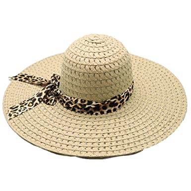 28b5336d4df06 Amazon.com  Summer Hats for Women Leopard Print Big Brim Straw Sun Hat Wide  Brim Hats Beach Cool Caps