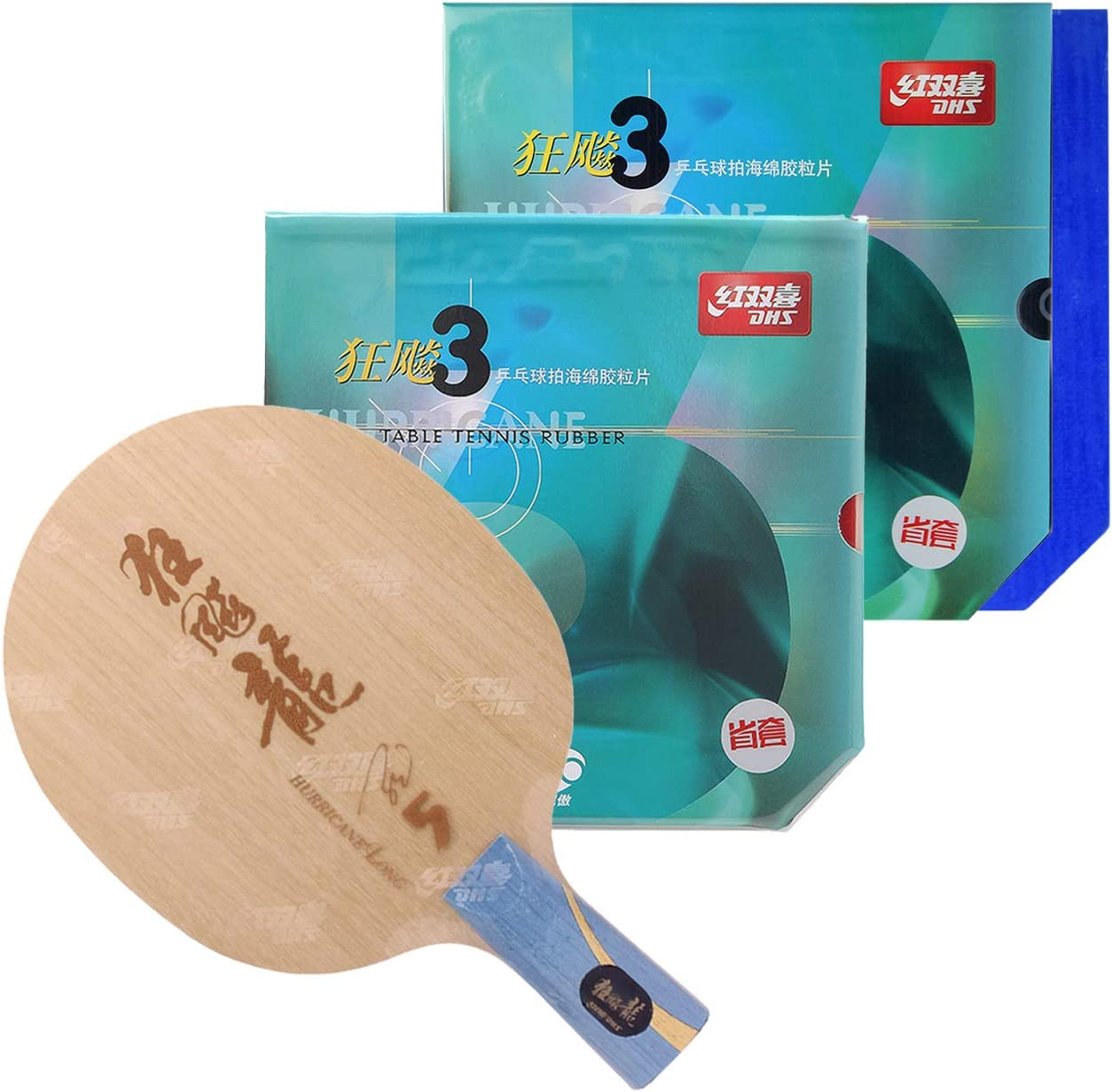 DHS Hurricane Long 5 Racket | CS Blade | with Ma Long Autograph Card | NEO Hurricane 3 Provincial Table Tennis Rubber | Blue and Orange Sponge | Professional Assembled