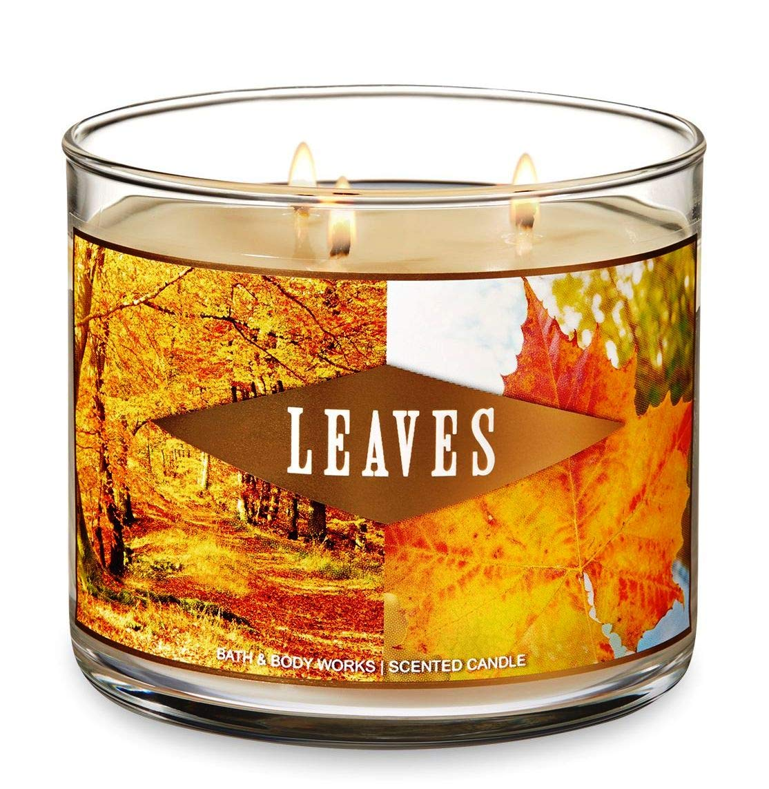 Bath and Body Works Leaves Candle - Large 14.5 Ounce 3-wick Limited Edition Fall Autumn Fragrance by Bath & Body Works