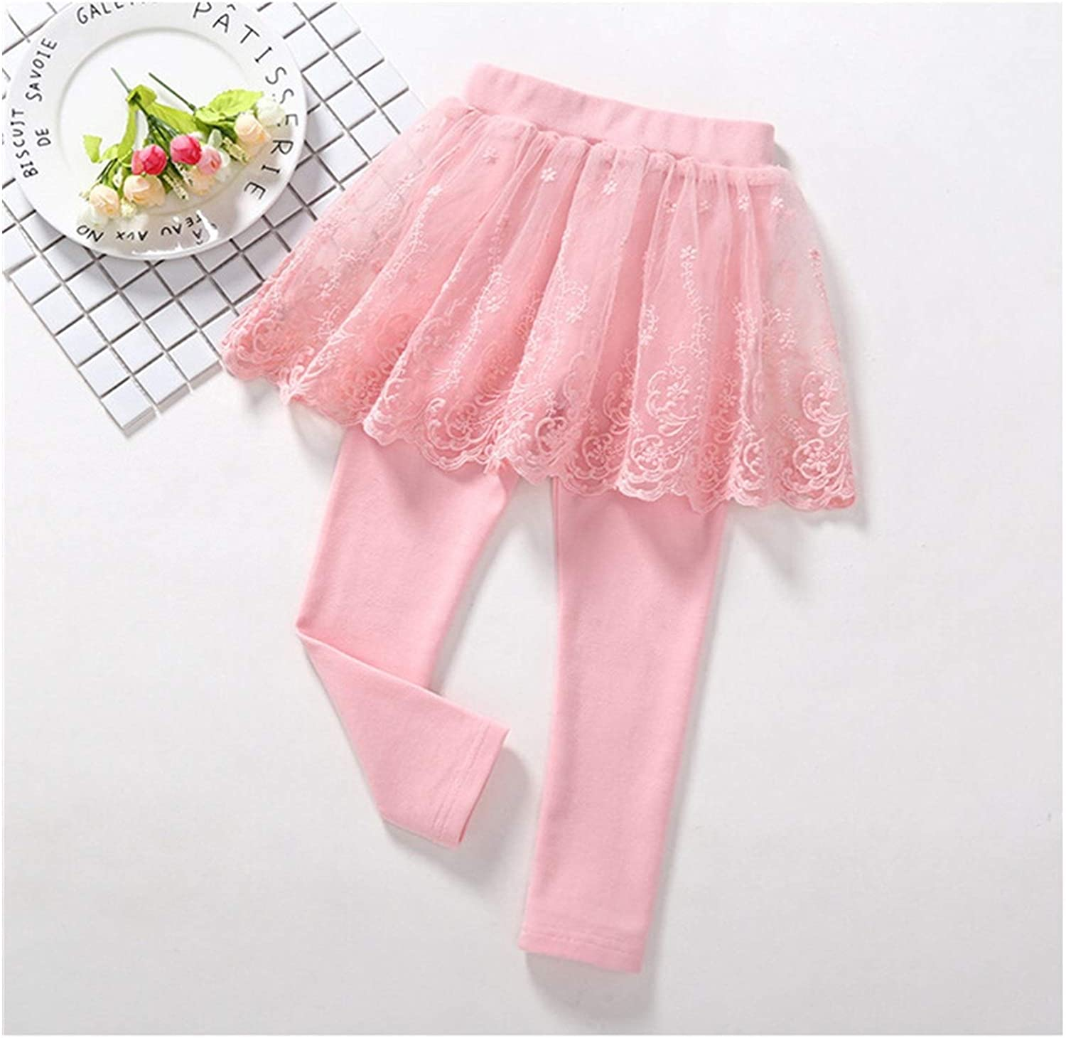 90 Spring and Autumn Childrens Slim Skirt Trousers 2-7 Years Old Childrens Clothes Pure Cotton Lace Princess Culottes Girls Leggings Color : 1, Size : 3T