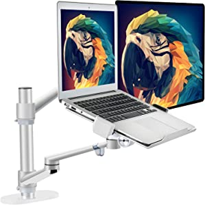 Monitor and Laptop Mount or Laptop and Tablet Arm Compatible with 17~32 inch Monitor and 11~17.3 inch and 4~14 inch Tablet