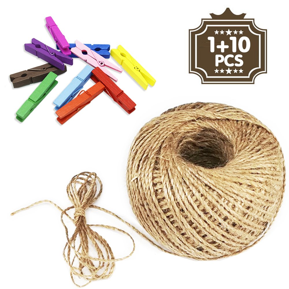 Jazzka Jute Twine 100m 328ft & Wooden Colored Pegs String Rope Clips Clothespins 2-Ply Hemp Hessian Arts Crafts Photo Paper DIY Scrapbooking Floristry Gifts Decor (Jute Twine 100m)