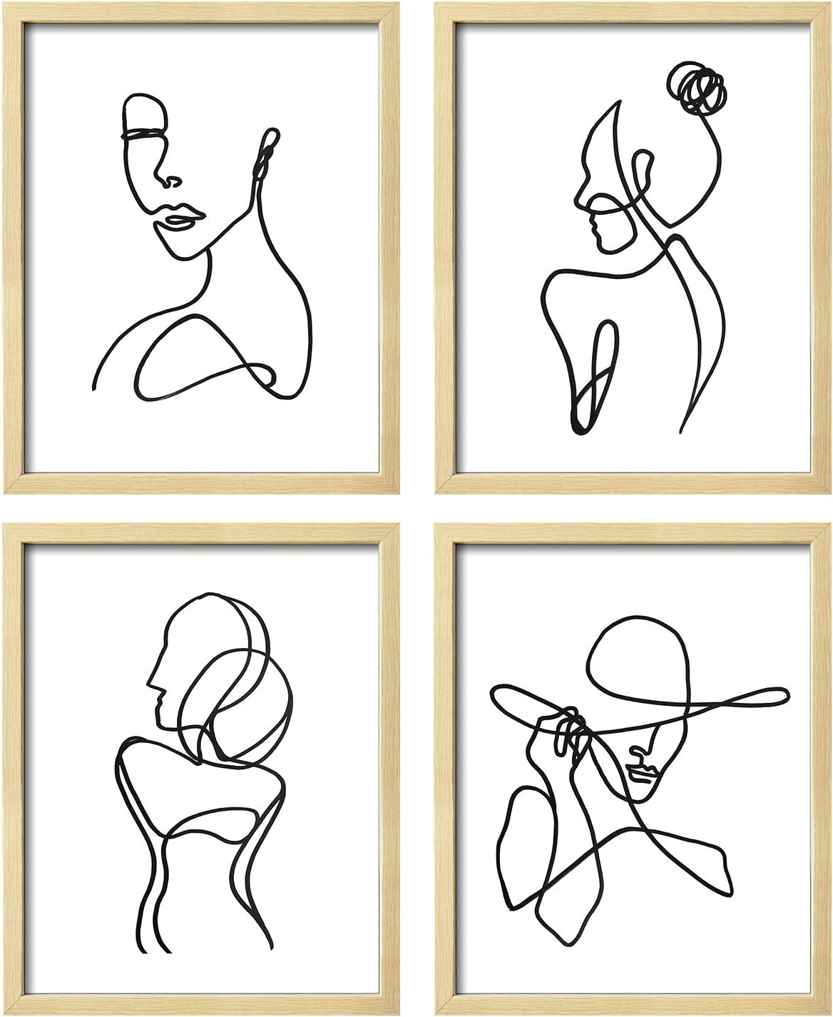 ArtbyHannah 8x10 Inch Unframed Minimalist Line Art Print Set of 4 Wall Art Decor Abstract Woman's Body Shape Poster Print Wall Art Minimalist Painting Modern Artwork