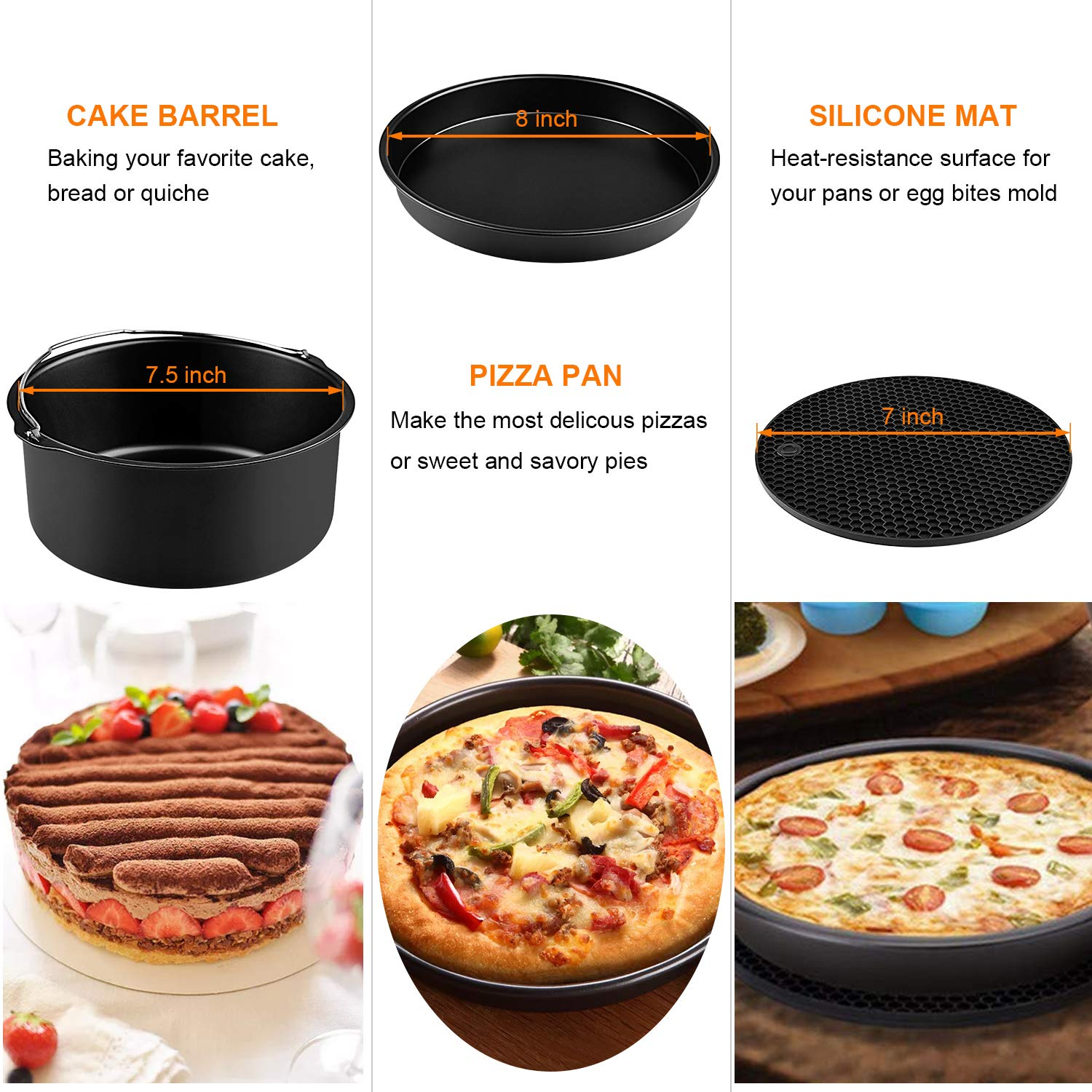 Air Fryer Accessories XL, 8 Inch Set of 20 Fit COSORI Ninjia Gowise NuWave 4.2QT 5.3QT 5.5QT 5.8QT Air Fryer, BPA Free, Dishwasher Safe, Nonstick Coating Deep Fryer Accessories with Recipes Cookbook