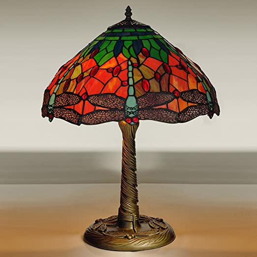 Kliving 16 mitcham e27 60w tiffany table lamp with stained glass dragonfly shade