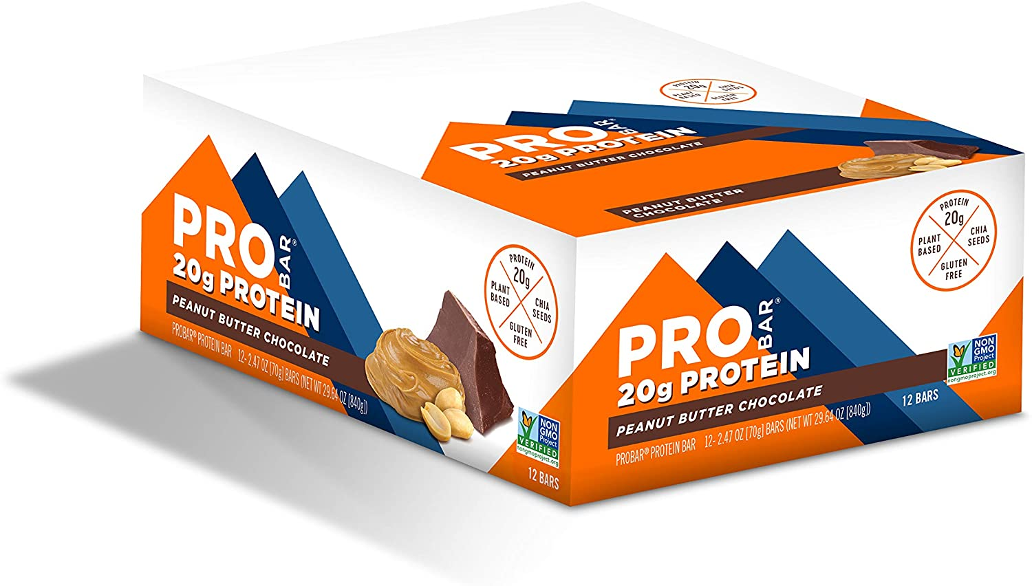 PROBAR - Base Protein Bar, Peanut Butter Chocolate, Non-GMO, Gluten-Free, Certified Organic, Healthy, Plant-Based Whole Food Ingredients (12 Count)