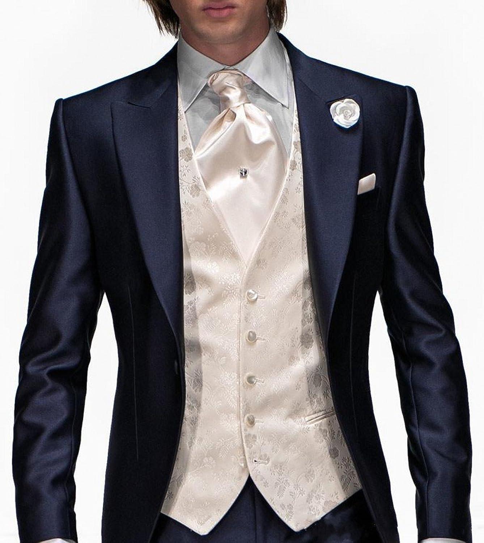 Lover Dress Slim Fit Navy Blue Tuxedos Men Suits 3 Pieces Party ...