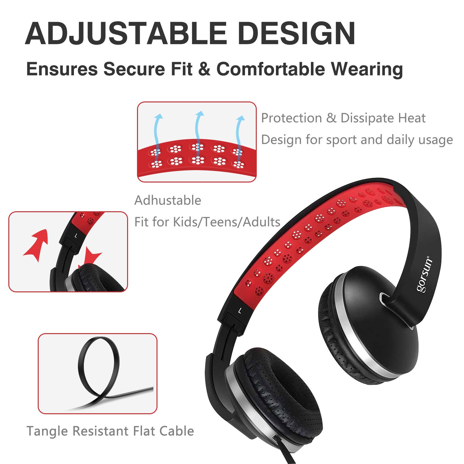 Over Ear Headphones, Lightweight Foldable Headphones with Microphone Stereo Bass Adjustable PC Headset Wired Flat Cord Headphone with Volume Control for Sport Workout Gym for Smartphones Laptop by Fujack (Image #3)