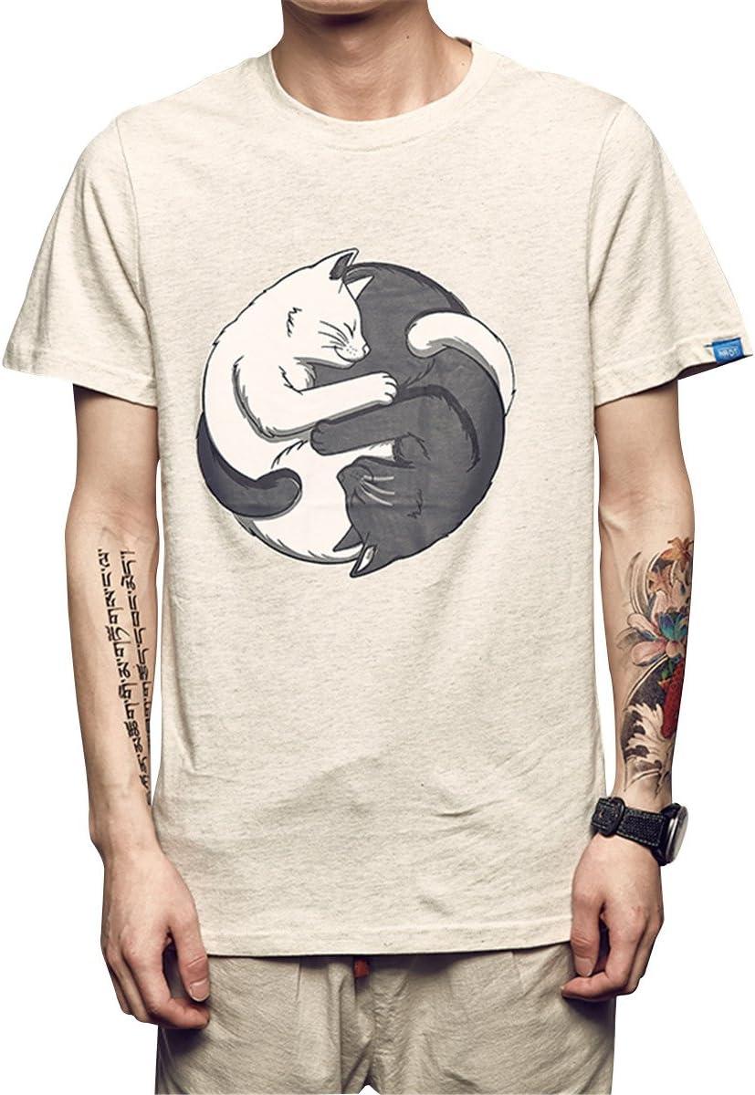 Peng La Primavera Y El Verano Hombre De Tai Chi Cat Imprimir Manga Corta Calle Camiseta Cuello Redondo Camiseta De Manga Corta Cómodo, Transpirable, Blanco, 2XL: Amazon.es: Deportes y aire libre