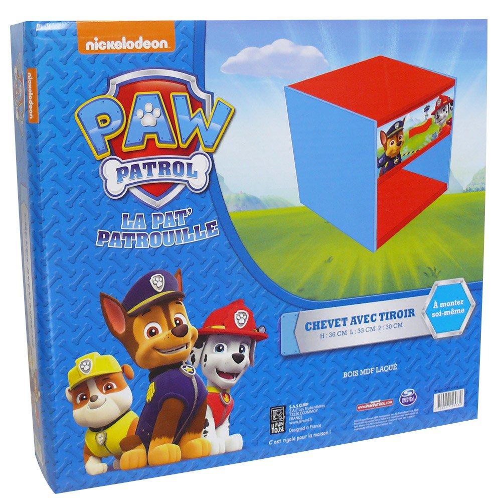 FUN HOUSE 712533 Pat Patrol - Comodino con cassetto per bambino, in legno MDF/tessuto non tessuto blu 33 x 30 x 36 cm CIJEP - JEMINI