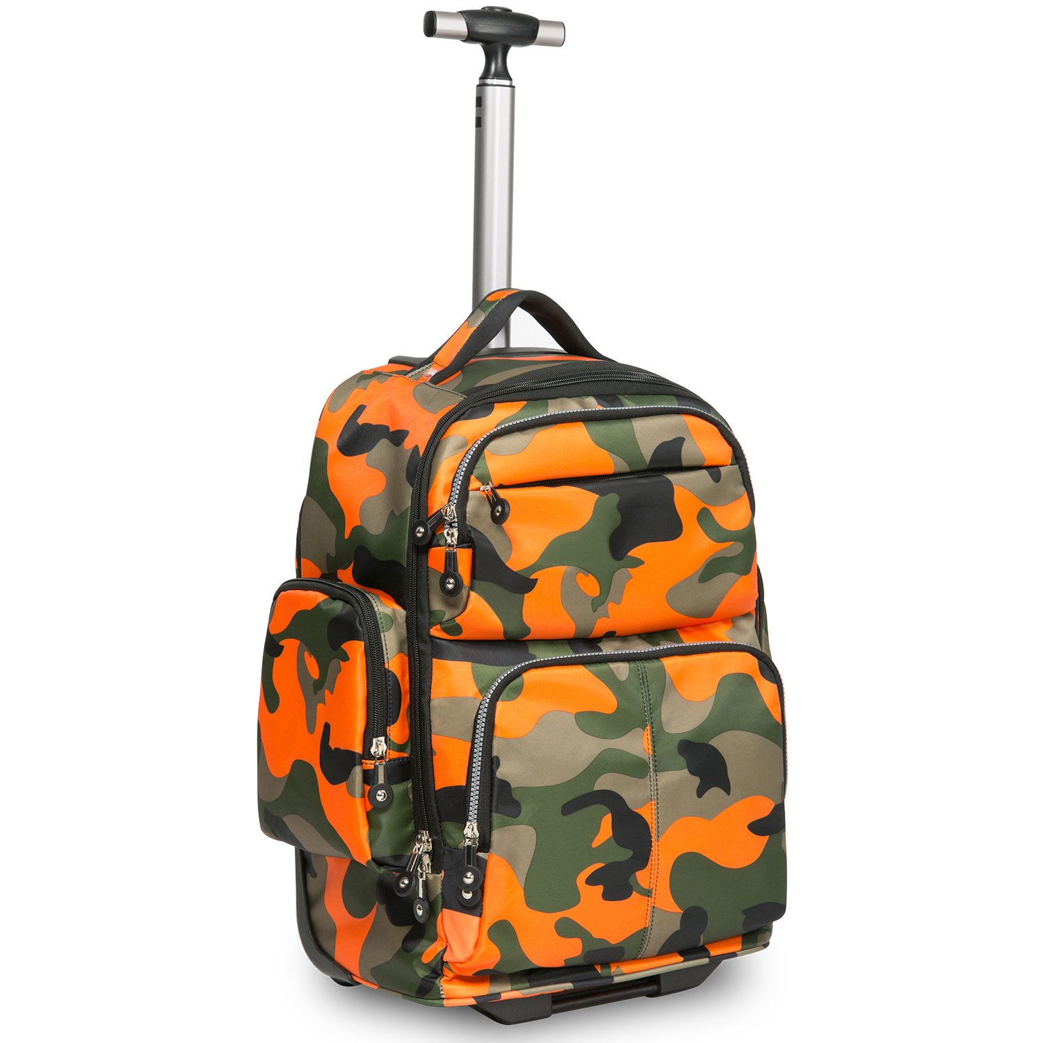 HollyHOME 20 inches Big Storage Waterproof Wheeled Rolling Backpack Travel Luggage for Boys Students School Books Laptop Bag, Orange Camouflage by HollyHOME