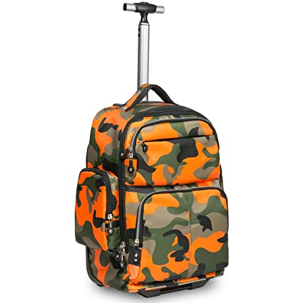 1f791a7571ef Image Unavailable. Image not available for. Color  HollyHOME 20 inches Big  Storage Waterproof Wheeled Rolling Backpack Travel Luggage for Boys Students  ...