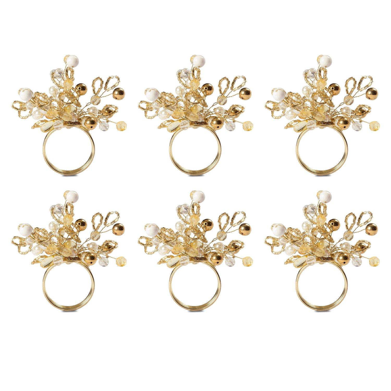 DII CAMZ38212 Gold Multi Bead Napkin Ring Set/6, Set of 6, Christmas Cluster Piece