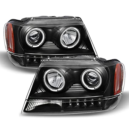 ACANII   For Blk 1999 2004 Jeep Grand Cherokee LED Halo Projector Headlights  99