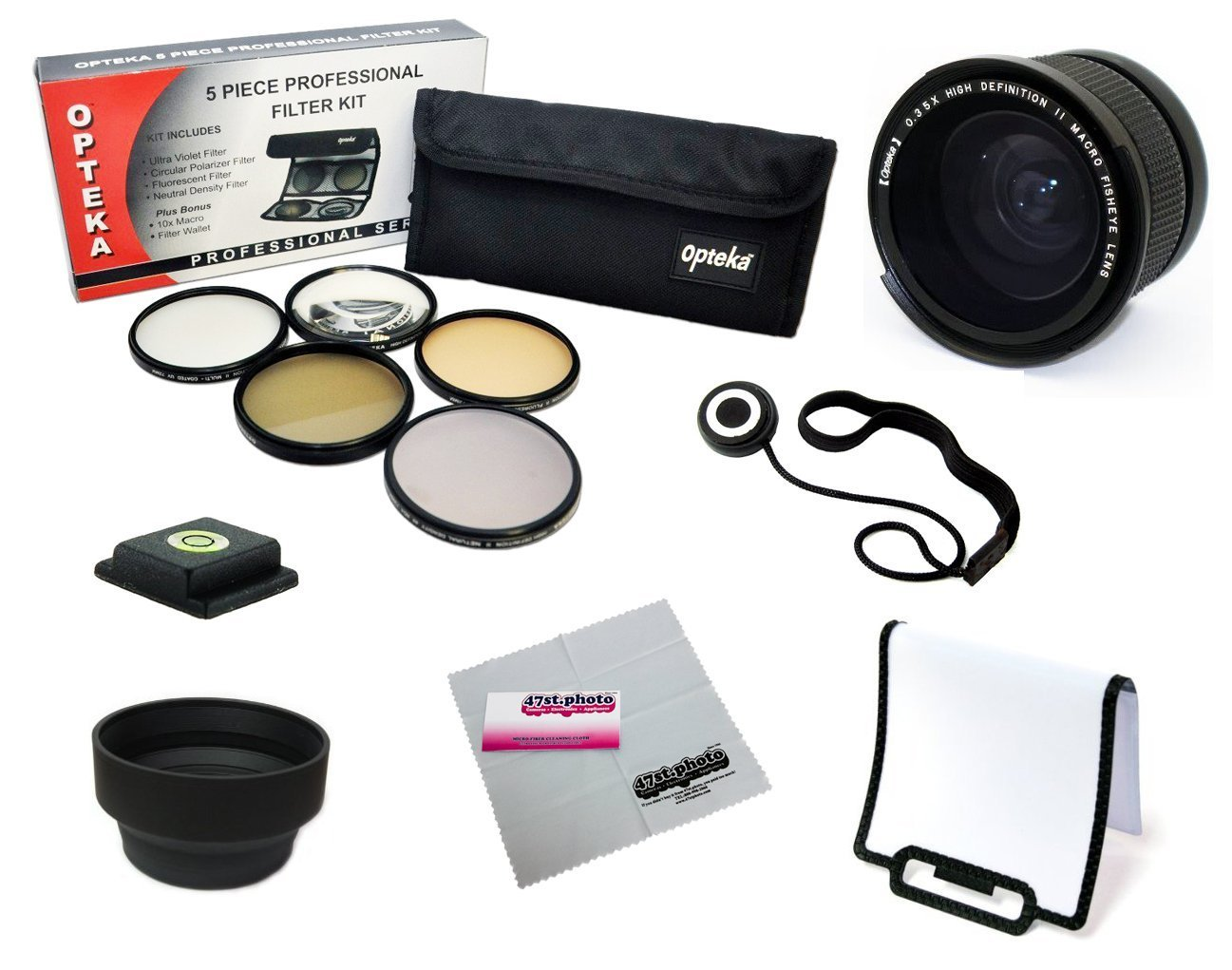 52MM Professional .35x Lens + Filter Accessory Kit for NIKON D7100, D7000, D5200, D5100, D5000, D3200, D3100, D3000, D90 and D80 DSLR Cameras- Includes Opteka .35x Fisheye Lens + Filter Kit (UV, CPL, FLD, ND4 and 10x Macro) + Carry Pouch + Flash Diffuser