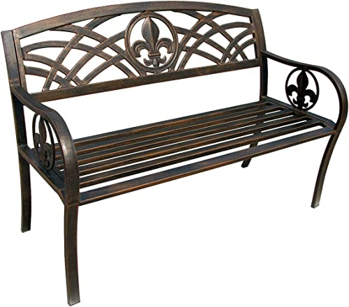 Leigh Country Fleur De Lis Metal Bench
