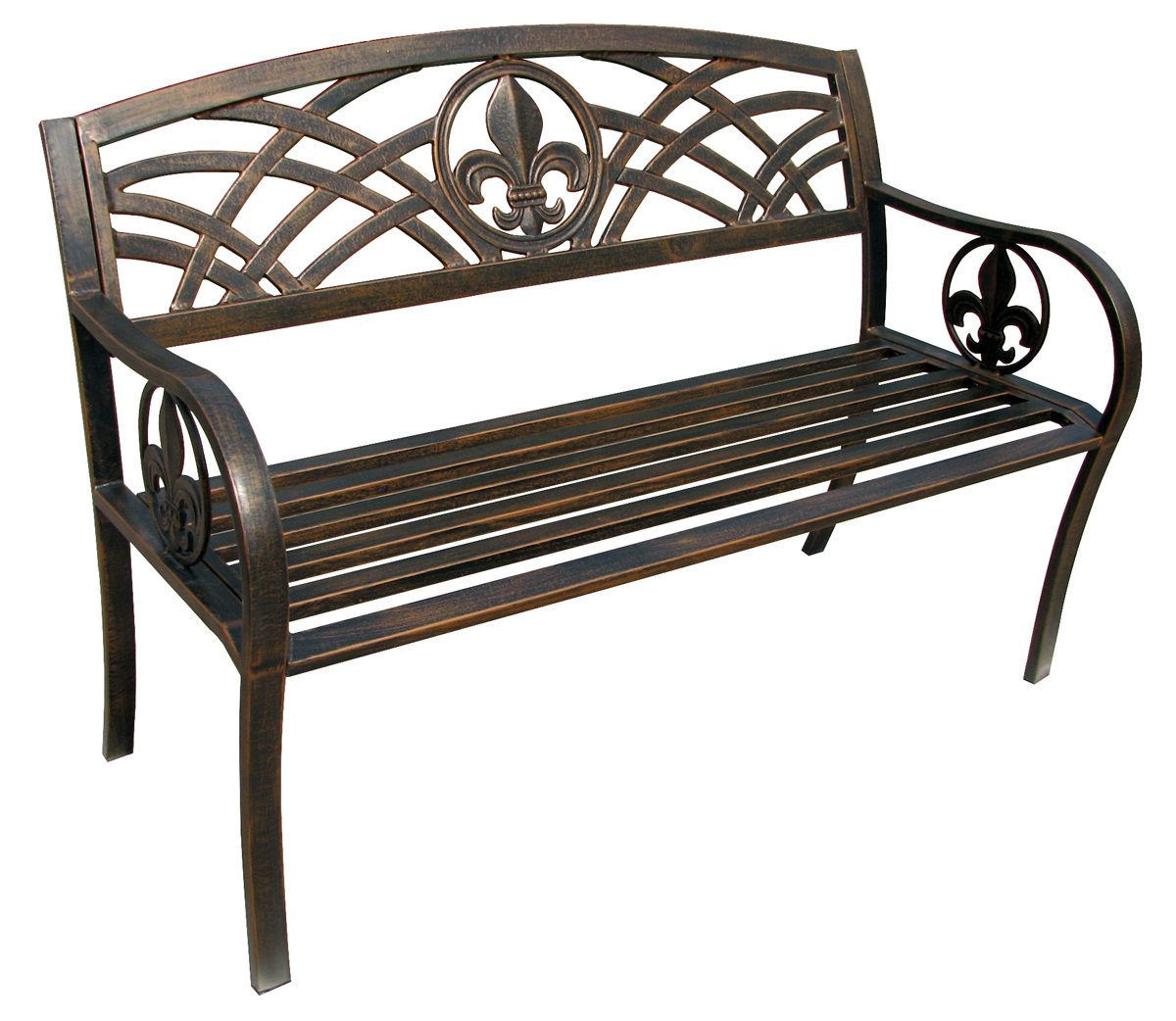 Amazon.com : Leigh Country TX94104 Char Log Fleur De Lis Metal Bench :  Patio, Lawn U0026 Garden