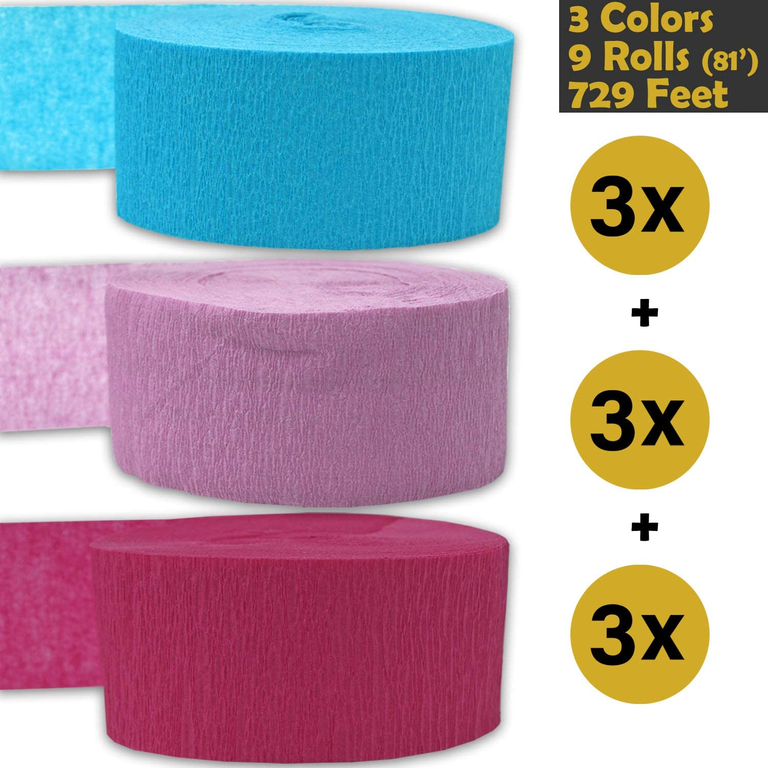 3 Colors 243 per color Made in USA 3 rolls per color, 81 foot each roll Black Golden Yellow Flame Resistant - For party Decorations and Crafts Crepe Party Streamers Sangria Bleed Resistant 9 rolls 739 ft