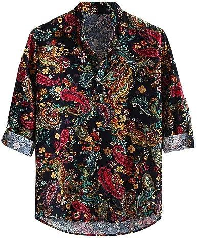 Camisas Casual Estampada para Hombre Shirt Estilo Nacional ...