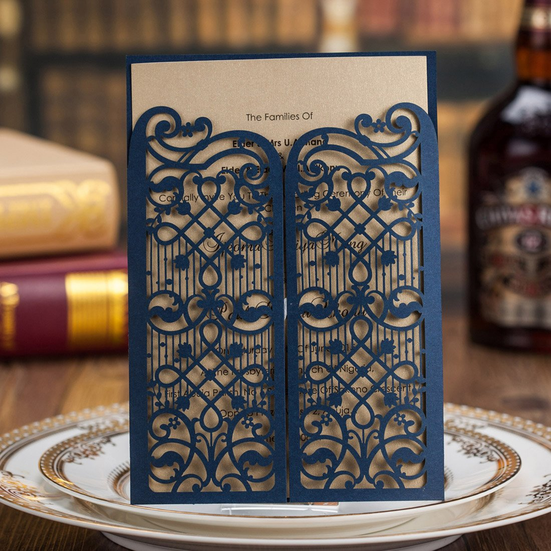 Amazon Com Wishmade Navy Blue Laser Cut Wedding Invitations Cards