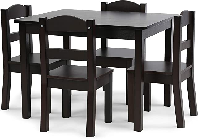 Play Room,Easy to Assemble,Included Table and 4 Chairs Qao 5 Pieces Set Multifunctional Kids Wooden Table and 4 Chair Set,Wooden Activity Table Furniture Set for Bedroom