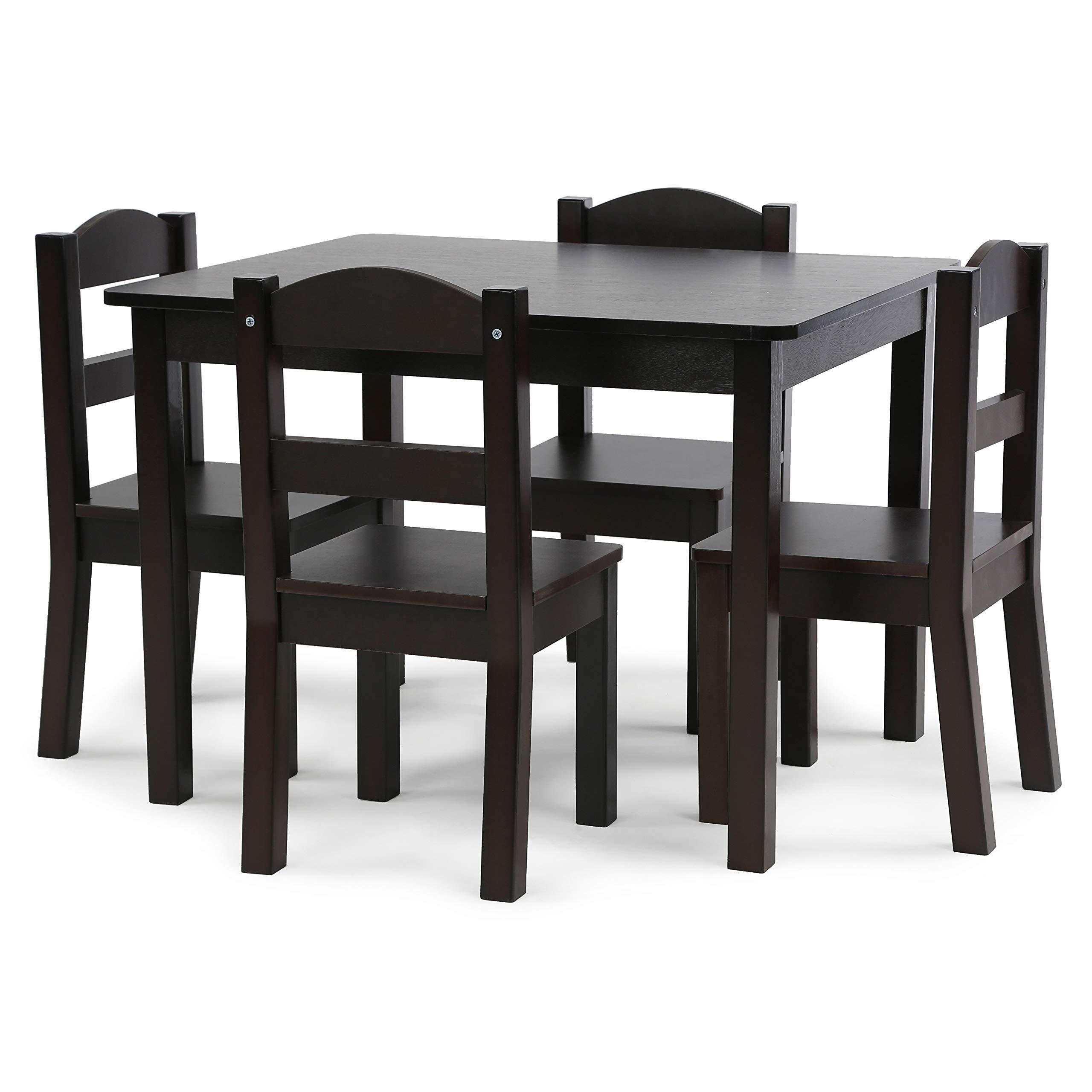 Tot Tutors TC824 Espresso Collection Kids Wood Table & 4 Chair Set, Espresso by Tot Tutors