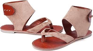 Sandalias Mujer Verano gracosy Plano Verano Playa Vacaciones De Ocio Zapatos Antideslizantes Caqui Negro Cuero Casual Zapatos Sueltos De Gran Tamaño Sandalias